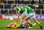 7 July 2019; Cian O'Dea of Clare reacts after a high tackle by Thomas McGovern of Meath, centre, during the GAA Football All-Ireland Senior Championship Round 4 match between Meath and Clare at O'Moore Park in Portlaoise, Laois. Photo by Sam Barnes/Sportsfile