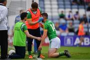7 July 2019; Mickey Newman of Meath receives medical attention after colliding with the post when scoring his sides second goal during the GAA Football All-Ireland Senior Championship Round 4 match between Meath and Clare at O'Moore Park in Portlaoise, Laois. Photo by Sam Barnes/Sportsfile