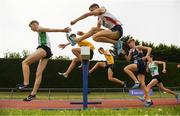 7 July 2019; Athletes competing in the U18 Boys 3000m Steeplechase during the Irish Life Health Juvenile Track and Field Championships Tullamore Harriers Stadium, Tullamore in Offaly. Photo by Eóin Noonan/Sportsfile