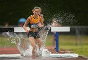 7 July 2019; Roisin Treacy of Ashford A.C., Co. Meath, competing in the U18 Girls 2000m Steeplechase  during the Irish Life Health Juvenile Track and Field Championships Tullamore Harriers Stadium, Tullamore in Offaly. Photo by Eóin Noonan/Sportsfile