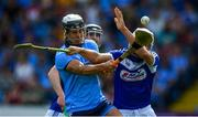7 July 2019; Cian Boland of Dublin in action against Joe Phelan of Laois during the GAA Hurling All-Ireland Senior Championship preliminary round quarter-final match between Laois and Dublin at O'Moore Park in Portlaoise, Laois. Photo by Piaras Ó Mídheach/Sportsfile