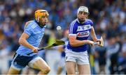 7 July 2019; Eamonn Dillon of Dublin in action against Ryan Mullaney of Laois during the GAA Hurling All-Ireland Senior Championship preliminary round quarter-final match between Laois and Dublin at O'Moore Park in Portlaoise, Laois. Photo by Piaras Ó Mídheach/Sportsfile