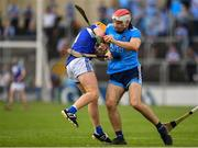 7 July 2019; Paddy Smyth of Dublin in action against Mark Kavanagh of Laois during the GAA Hurling All-Ireland Senior Championship preliminary round quarter-final match between Laois and Dublin at O'Moore Park in Portlaoise, Laois. Photo by Sam Barnes/Sportsfile