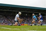 7 July 2019; Aaron Dunphy of Laois shoots to score their side's first goal, despite the attentions of Darragh O'Connell, right, and Alan Nolan of Dublin during the GAA Hurling All-Ireland Senior Championship preliminary round quarter-final match between Laois and Dublin at O'Moore Park in Portlaoise, Laois. Photo by Sam Barnes/Sportsfile