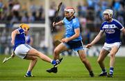 7 July 2019; Paddy Smyth of Dublin in action against Mark Kavanagh, left, and Éanna Lyons of Laois during the GAA Hurling All-Ireland Senior Championship preliminary round quarter-final match between Laois and Dublin at O'Moore Park in Portlaoise, Laois. Photo by Sam Barnes/Sportsfile