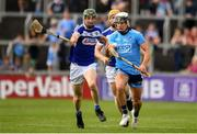 7 July 2019; Cian Boland of Dublin in action against Aaron Dunphy of Laois  during the GAA Hurling All-Ireland Senior Championship preliminary round quarter-final match between Laois and Dublin at O'Moore Park in Portlaoise, Laois. Photo by Sam Barnes/Sportsfile