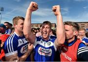 7 July 2019; Ross King of Laois, centre, celebrates with Conor Phelan, left, and Laois manager Eddie Brennan, right, following the GAA Hurling All-Ireland Senior Championship preliminary round quarter-final match between Laois and Dublin at O'Moore Park in Portlaoise, Laois. Photo by Sam Barnes/Sportsfile