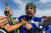7 July 2019; Paddy Purcell of Laois celebrates wih supporters after the GAA Hurling All-Ireland Senior Championship preliminary round quarter-final match between Laois and Dublin at O'Moore Park in Portlaoise, Laois. Photo by Piaras Ó Mídheach/Sportsfile