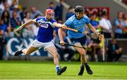 7 July 2019; Ronan Hayes of Dublin in action against Jack Kelly of Laois during the GAA Hurling All-Ireland Senior Championship preliminary round quarter-final match between Laois and Dublin at O'Moore Park in Portlaoise, Laois. Photo by Sam Barnes/Sportsfile