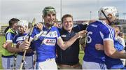 7 July 2019; Aaron Dunphy of Laois celebrates with supporters following the GAA Hurling All-Ireland Senior Championship preliminary round quarter-final match between Laois and Dublin at O'Moore Park in Portlaoise, Laois. Photo by Sam Barnes/Sportsfile