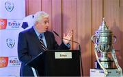 8 July 2019; MC Con Murphy speaking during the Extra.ie FAI Cup First Round Draw at Aviva Stadium in Dublin. Photo by Sam Barnes/Sportsfile