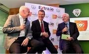 8 July 2019; Gavin Dykes, Former Sligo Rovers Captain, left, Stephen Kenny, Republic of Ireland U21 Manager, centre, and MC Con Murphy, right, take part in a Q and A during the Extra.ie FAI Cup First Round Draw at Aviva Stadium in Dublin. Photo by Sam Barnes/Sportsfile