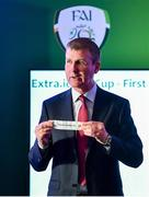 8 July 2019; Republic of Ireland U21 manager Stephen Kenny draws Cobh Ramblers during the Extra.ie FAI Cup First Round Draw at Aviva Stadium in Dublin. Photo by Sam Barnes/Sportsfile