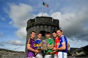 9 July 2019; In attendance at the GAA Hurling All Ireland Senior Championship Series National Launch at King John's Castle in Limerick are, from left, Kevin Foley of Wexford, Brendan Maher of Tipperary, Aaron Gillane of Limerick, Seamus Harnedy of Cork and Joe Phelan of Laois. Photo by Brendan Moran/Sportsfile