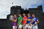 9 July 2019; In attendance at the GAA Hurling All Ireland Senior Championship Series National Launch at King John's Castle in Limerick are, from left, Kevin Foley of Wexford, Aaron Gillane of Limerick, Seamus Harnedy of Cork, Brendan Maher of Tipperary and Joe Phelan of Laois. Photo by Brendan Moran/Sportsfile
