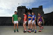 9 July 2019; In attendance at the GAA Hurling All Ireland Senior Championship Series National Launch at King John's Castle in Limerick are, from left, Aaron Gillane of Limerick, Seamus Harnedy of Cork, Brendan Maher of Tipperary, Joe Phelan of Laois and Kevin Foley of Wexford.  Photo by Brendan Moran/Sportsfile