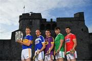 9 July 2019; In attendance at the GAA Hurling All Ireland Senior Championship Series National Launch at King John's Castle in Limerick are, from left, Brendan Maher of Tipperary, Joe Phelan of Laois, Kevin Foley of Wexford, Aaron Gillane of Limerick and Seamus Harnedy of Cork.  Photo by Brendan Moran/Sportsfile