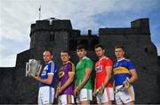 9 July 2019; In attendance at the GAA Hurling All Ireland Senior Championship Series National Launch at King John's Castle in Limerick are, from left, Joe Phelan of Laois, Kevin Foley of Wexford, Aaron Gillane of Limerick, Seamus Harnedy of Cork and Brendan Maher of Tipperary. Photo by Brendan Moran/Sportsfile