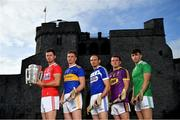 9 July 2019; In attendance at the GAA Hurling All Ireland Senior Championship Series National Launch at King John's Castle in Limerick are, from left, Seamus Harnedy of Cork, Brendan Maher of Tipperary, Joe Phelan of Laois, Kevin Foley of Wexford and Aaron Gillane of Limerick. Photo by Brendan Moran/Sportsfile