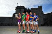 9 July 2019; In attendance at the GAA Hurling All Ireland Senior Championship Series national launch at King John's Castle in Limerick are, from left, Aaron Gillane of Limerick with the Liam MacCarthy Cup, Seamus Harnedy of Cork, Brendan Maher of Tipperary, Joe Phelan of Laois and Kevin Foley of Wexford. Photo by Brendan Moran/Sportsfile