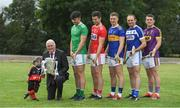 9 July 2019; Uachtaráin Cumann Lúthchleas Gael John Horan with three year old Senan Ó aHannaigh, from the host club Mungret St Paul's, and players Aaron Gillane of Limerick, Seamus Harnedy of Cork, Brendan Maher of Tipperary, Joe Phelan of Laois and Kevin Foley of Wexford, during the GAA Hurling All Ireland Senior Championship Series National Launch at Mungret St Pauls GAA Club in Limerick. Photo by Brendan Moran/Sportsfile