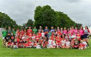 9 July 2019; Uachtaráin Cumann Lúthchleas Gael John Horan and Seamus Harnedy of Cork, Aaron Gillane of Limerick, Brendan Maher of Tipperary, Joe Phelan of Laois and Kevin Foley of Wexford, with young players from the host club during the GAA Hurling All Ireland Senior Championship Series National Launch at Mungret St Pauls GAA Club in Limerick. Photo by Brendan Moran/Sportsfile