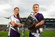 9 July 2019; #FollowOurJourney: The journey to Croke Park for the participating contenders in the 2019 TG4 Ladies Football Championships begins on Saturday, 13 July. Senior Champions Dublin will feature on a LIVE TG4 double-bill when they take on Munster runners-up Waterford, while Connacht Champions Galway are up against Kerry. 17 Championship games will be broadcast exclusively on TG4 throughout the summer, with the Senior and Intermediate championships to be played once again on a round-robin basis. You can follow the journey of all 32 teams involved in the Senior, Intermediate and Junior Championships, as they aim to make it Croke Park for TG4 All-Ireland Finals Sunday on 15 September. A number of top inter-county stars travelled to the spectacular Ballynahinch Castle Hotel in county Galway to mark the beginning of the TG4 All-Ireland series. Pictured are Amanda Brosnan of Kerry and Tracey Leonard of Galway with the Brendan Martin Cup at the launch at Croke Park in Dublin. #ProperFan. Photo by Eóin Noonan/Sportsfile