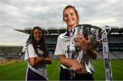 9 July 2019; #FollowOurJourney: The journey to Croke Park for the participating contenders in the 2019 TG4 Ladies Football Championships begins on Saturday, 13 July. Senior Champions Dublin will feature on a LIVE TG4 double-bill when they take on Munster runners-up Waterford, while Connacht Champions Galway are up against Kerry. 17 Championship games will be broadcast exclusively on TG4 throughout the summer, with the Senior and Intermediate championships to be played once again on a round-robin basis. You can follow the journey of all 32 teams involved in the Senior, Intermediate and Junior Championships, as they aim to make it Croke Park for TG4 All-Ireland Finals Sunday on 15 September. A number of top inter-county stars travelled to the spectacular Ballynahinch Castle Hotel in county Galway to mark the beginning of the TG4 All-Ireland series. Pictured are Emma Jane Gervin of Tyrone and Niamh Kelly of Mayo with the Brendan Martin Cup at the launch at Croke Park in Dublin. #ProperFan. Photo by Eóin Noonan/Sportsfile