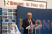 9 July 2019; Chairman of Mungret St Paul's GAA Club Mike O'Connell speaking at the GAA Hurling All Ireland Senior Championship Series National Launch at Mungret St Pauls GAA Club in Limerick. Photo by Brendan Moran/Sportsfile