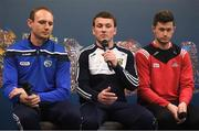 9 July 2019; Kevin Foley of Wexford, centre, in the company of Joe Phelan of Laois and Seamus Harnedy of Cork, speaking at the GAA Hurling All Ireland Senior Championship Series National Launch at Mungret St Pauls GAA Club in Limerick. Photo by Brendan Moran/Sportsfile