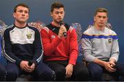 9 July 2019; Seamus Harnedy of Cork, centre, in the company of Kevin Foley of Wexford and Brendan Maher of Tipperary, speaking at the GAA Hurling All Ireland Senior Championship Series National Launch at Mungret St Pauls GAA Club in Limerick. Photo by Brendan Moran/Sportsfile