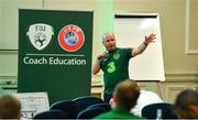 9 July 2019; Niall O'Regan, FAI Coach Education Manager, speaking during a UEFA Pro Licence Course at Johnstown House in Enfield, Meath. Photo by Piaras Ó Mídheach/Sportsfile