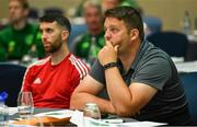 9 July 2019; Limerick FC Women's manager Dave Rooney, right, and Declan Colman of Cobh Ramblers during a UEFA Pro Licence Course at Johnstown House in Enfield, Meath. Photo by Piaras Ó Mídheach/Sportsfile