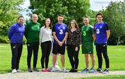 9 July 2019; Attendees, from left, Andy Reid, UEFA Pro Licence student, Ian Hill, FAI Development Officer, Colleen Fahey of Jigsaw, Robbie Keane, UEFA Pro Licence student, Rebecca Crowe of Jigsaw, James Scott, FAI Development Officer, and Keith Andrews, UEFA Pro Licence student, at a UEFA Pro Licence Course at Johnstown House in Enfield, Meath.       Photo by Piaras Ó Mídheach/Sportsfile