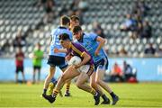 9 July 2019; Dylan McVeigh of Wexford in action against James Doran of Dublin during the EirGrid Leinster GAA Football U20 Championship semi-final match between Dublin and Wexford at Parnell Park in Dublin. Photo by Eóin Noonan/Sportsfile