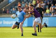 9 July 2019; Ross McGarry of Dublin in action against Killian Pierce of Wexford during the EirGrid Leinster GAA Football U20 Championship semi-final match between Dublin and Wexford at Parnell Park in Dublin. Photo by Eóin Noonan/Sportsfile