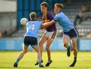 9 July 2019; Liam Coleman of Wexford is tackled by Peadar O'Cofaigh Byrne, right, and Eoin O'Dea of Dublin during the EirGrid Leinster GAA Football U20 Championship semi-final match between Dublin and Wexford at Parnell Park in Dublin. Photo by Eóin Noonan/Sportsfile