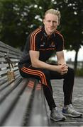 10 July 2019; The PwC GAA/GPA Players of the Month for June, footballer Jamie Brennan of Donegal, and hurler, Diarmuid O'Keeffe of Wexford, were at PwC offices in Dublin today to pick up their respective awards. The players were joined by Billy Sweetman, PwC Wexford, Leinster GAA Chairman, Jim Bolger, and GPA Chief Executive, Paul Flynn. Pictured is Diarmuid O'Keeffe of Wexford with his award at PwC Spencer Dock, North Wall Quay, Dublin 1.  Photo by Sam Barnes/Sportsfile