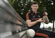 10 July 2019; The PwC GAA/GPA Players of the Month for June, footballer Jamie Brennan of Donegal, and hurler, Diarmuid O'Keeffe of Wexford, were at PwC offices in Dublin today to pick up their respective awards. The players were joined by Billy Sweetman, PwC Wexford, Leinster GAA Chairman, Jim Bolger, and GPA Chief Executive, Paul Flynn. Pictured is Jamie Brennan of Donegal with his award at PwC Spencer Dock, North Wall Quay, Dublin 1.  Photo by Sam Barnes/Sportsfile