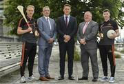10 July 2019; The PwC GAA/GPA Players of the Month for June, footballer Jamie Brennan of Donegal, and hurler, Diarmuid O'Keeffe of Wexford, were at PwC offices in Dublin today to pick up their respective awards. The players were joined by Billy Sweetman, PwC Wexford, Leinster GAA Chairman, Jim Bolger, and GPA Chief Executive, Paul Flynn. Pictured are , from left, Diarmuid O'Keeffe of Wexford, Billy Sweetman, PwC Wexford, Paul Flynn, GPA Chief Executive, Jim Bolger, Leinster GAA Chairman and Jamie Brennan of Donegal, at PwC Spencer Dock, North Wall Quay, Dublin 1.  Photo by Sam Barnes/Sportsfile
