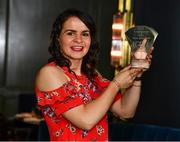 10 July 2019; Geraldine McLaughlin of Donegal is pictured with The Croke Park / LGFA Player of the Month award for June at The Croke Park in Jones Road, Dublin. Geraldine was outstanding for Donegal in their march to a third successive TG4 Ulster Senior Championship title. En route to the provincial crown, the Termon player scored 2-4 against Tyrone, 0-14 in the semi-final victory over Cavan, and 2-4 in the Final win against Armagh. Photo by Ray McManus/Sportsfile