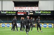 10 July 2019; Riga players walk the pitch ahead of the UEFA Champions League First Qualifying Round 1st Leg match between Dundalk and Riga at Oriel Park in Dundalk, Co Louth. Photo by Eóin Noonan/Sportsfile