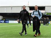 10 July 2019; Dundalk head coach Vinny Perth, right arriving to Oriel Park alongside Dundalk assistant head coach Ruaidhri Higgins ahead of the UEFA Champions League First Qualifying Round 1st Leg match between Dundalk and Riga at Oriel Park in Dundalk, Co Louth. Photo by Eóin Noonan/Sportsfile
