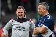 10 July 2019; Galway manager Padraic Joyce, right, and Maor Fóirne John Concannon ahead of the EirGrid Connacht GAA Football U20 Championship final match between Galway and Mayo at Tuam, Co. Galway. Photo by Sam Barnes/Sportsfile