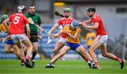 10 July 2019; Diarmuid Ryan of Clare in action against Cork players, from left, Ger Millerick, Brian Roche and Robert Downey during the Bord Gais Energy Munster GAA Hurling Under 20 Championship semi-final match between Cork and Clare at Páirc Ui Rinn in Cork. Photo by Brendan Moran/Sportsfile