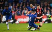 10 July 2019; Ryan Graydon of Bohemians in action against Danny Drinkwater of Chelsea during a friendly match between Bohemians and Chelsea at Dalymount Park in Dublin. Photo by Ramsey Cardy/Sportsfile