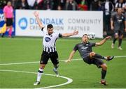 10 July 2019; Patrick Hoban of Dundalk in action against Kriss Kárklins of Riga during the UEFA Champions League First Qualifying Round 1st Leg match between Dundalk and Riga at Oriel Park in Dundalk, Co Louth. Photo by Eóin Noonan/Sportsfile