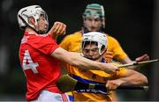 10 July 2019; Aidan McCarthy of Clare is tackled by Shane O'Regan of Cork during the Bord Gais Energy Munster GAA Hurling Under 20 Championship semi-final match between Cork and Clare at Páirc Ui Rinn in Cork. Photo by Brendan Moran/Sportsfile