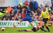 10 July 2019; Ethan Ampadu of Chelsea is tackled by Ryan Graydon of Bohemians during a friendly match between Bohemians and Chelsea at Dalymount Park in Dublin. Photo by Ramsey Cardy/Sportsfile