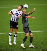 10 July 2019; Daniel Cleary of Dundalk in action against Roman Debelko of Riga during the UEFA Champions League First Qualifying Round 1st Leg match between Dundalk and Riga at Oriel Park in Dundalk, Co Louth. Photo by Eóin Noonan/Sportsfile